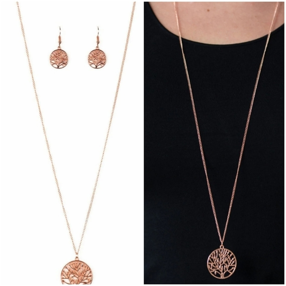 paparazzi Jewelry - SAVE THE TREES COPPER NECKLACE/EARRING SET